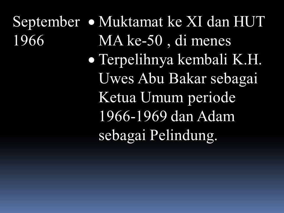 September 1966 Muktamat ke XI dan HUT MA ke-50 , di menes.