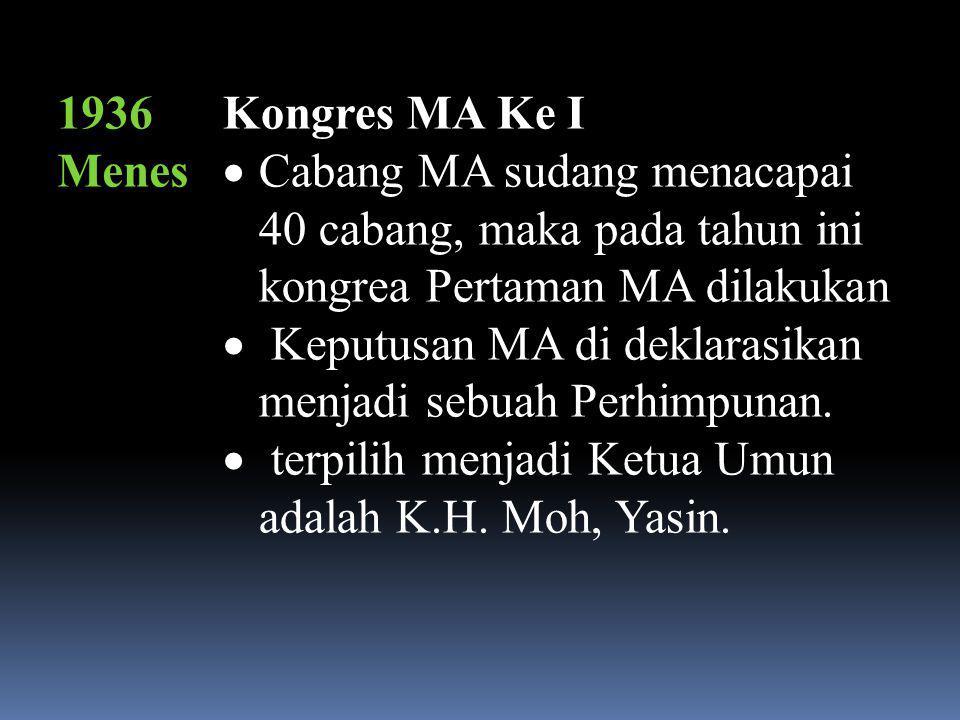 1936 Menes Kongres MA Ke I. Cabang MA sudang menacapai 40 cabang, maka pada tahun ini kongrea Pertaman MA dilakukan.