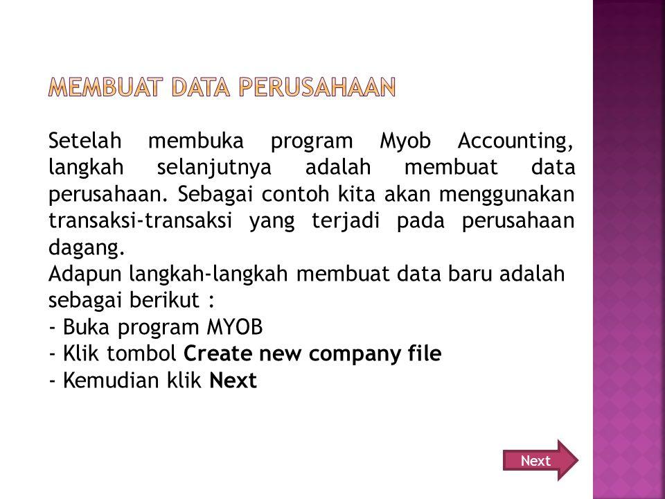 Membuat data perusahaan