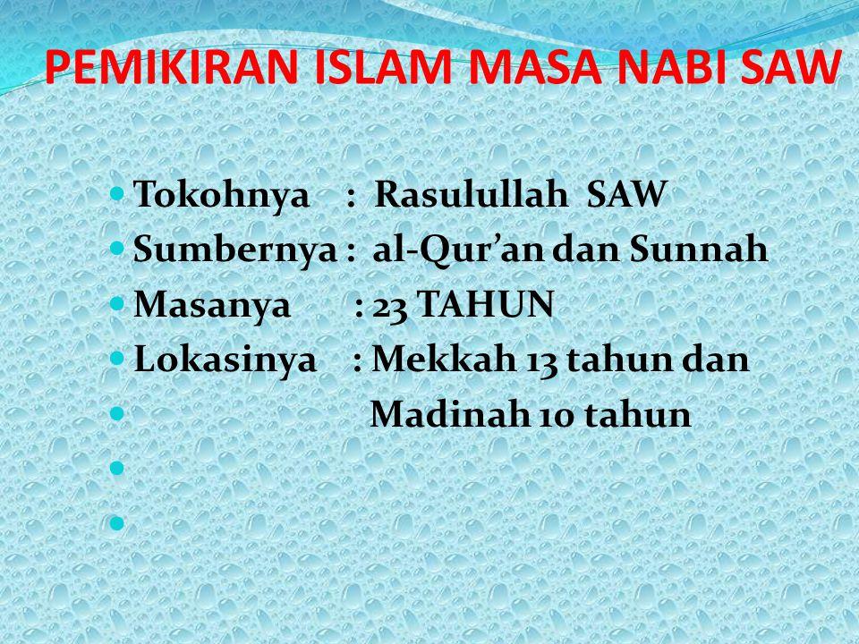 PEMIKIRAN ISLAM MASA NABI SAW