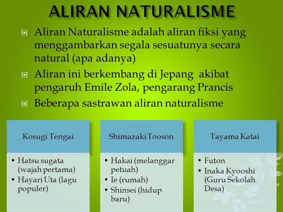 ALIRAN NATURALISME Aliran Naturalisme adalah aliran fiksi yang menggambarkan segala sesuatunya secara natural (apa adanya)