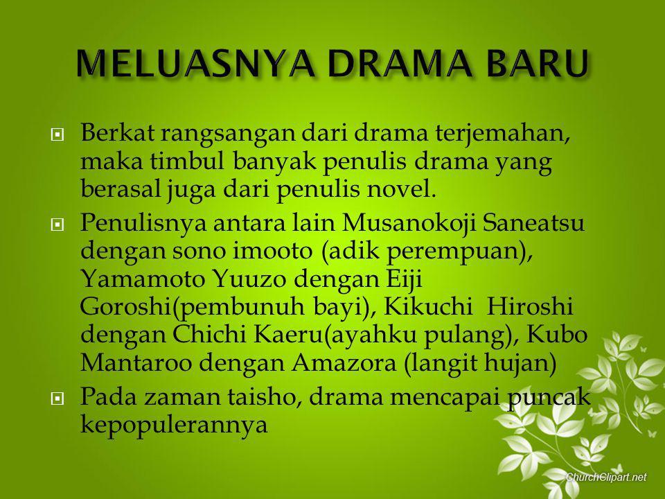 MELUASNYA DRAMA BARU Berkat rangsangan dari drama terjemahan, maka timbul banyak penulis drama yang berasal juga dari penulis novel.