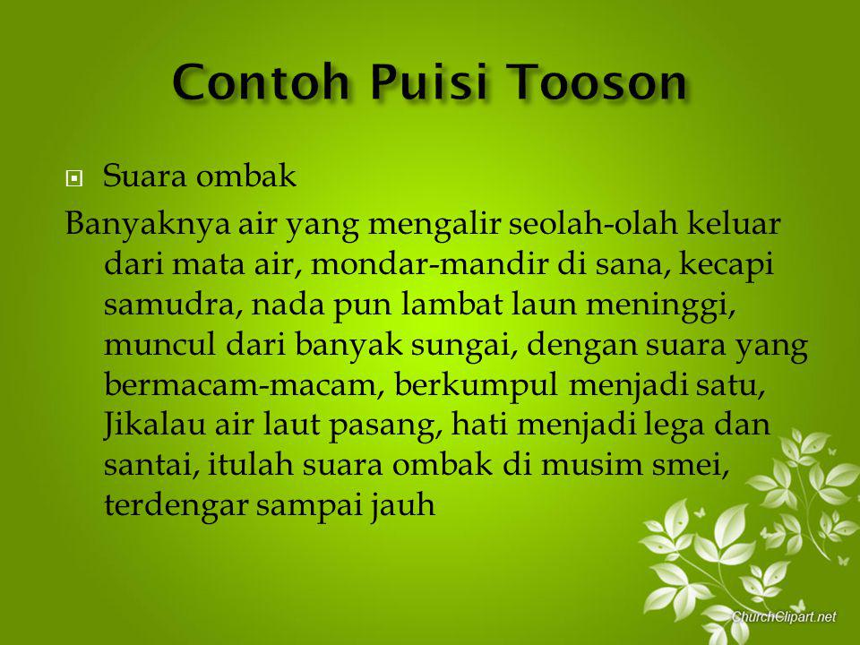 Contoh Puisi Tooson Suara ombak