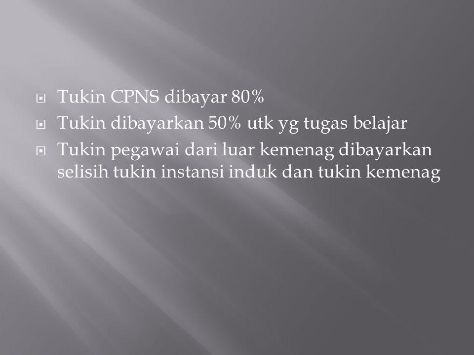 Tukin CPNS dibayar 80% Tukin dibayarkan 50% utk yg tugas belajar.