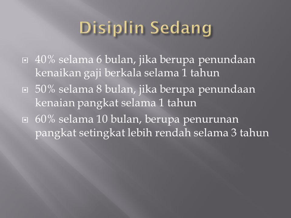 Disiplin Sedang 40% selama 6 bulan, jika berupa penundaan kenaikan gaji berkala selama 1 tahun.