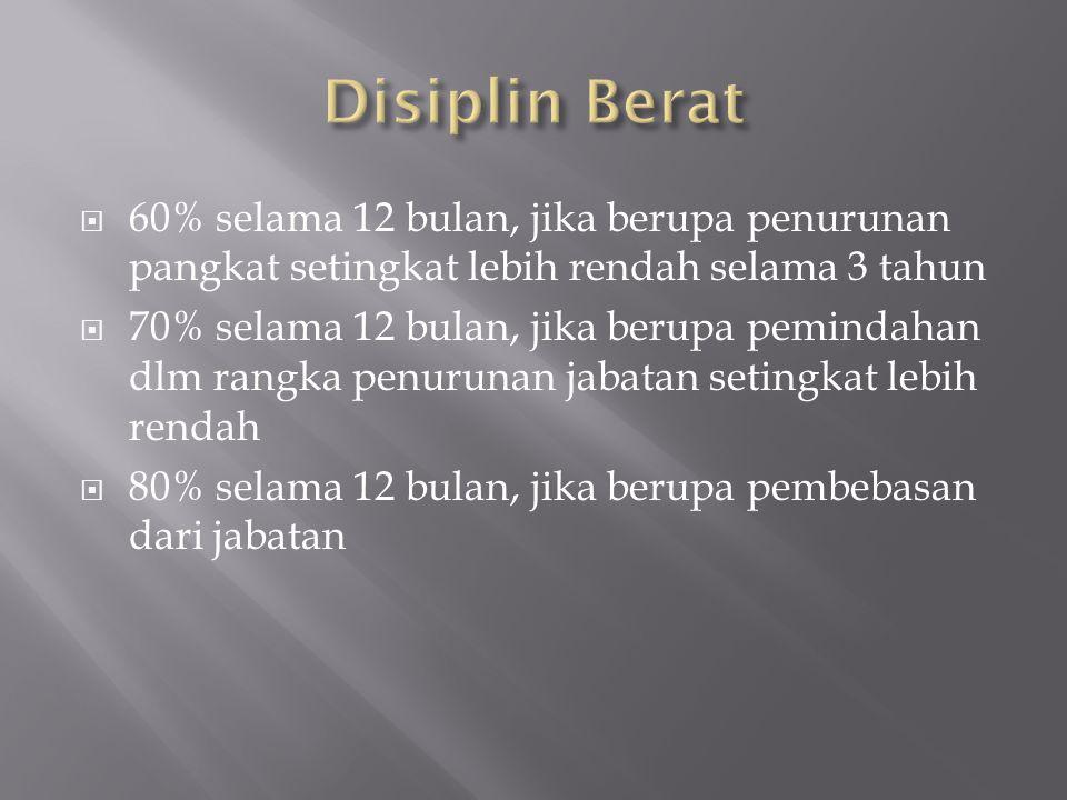Disiplin Berat 60% selama 12 bulan, jika berupa penurunan pangkat setingkat lebih rendah selama 3 tahun.