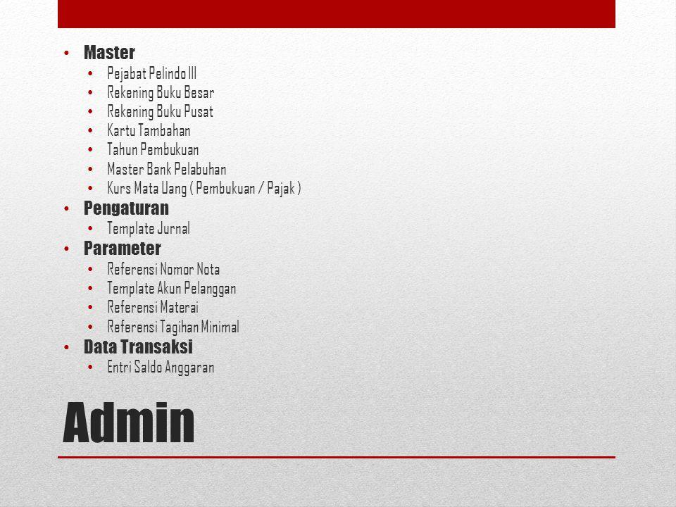 Admin Master Pengaturan Parameter Data Transaksi Pejabat Pelindo III