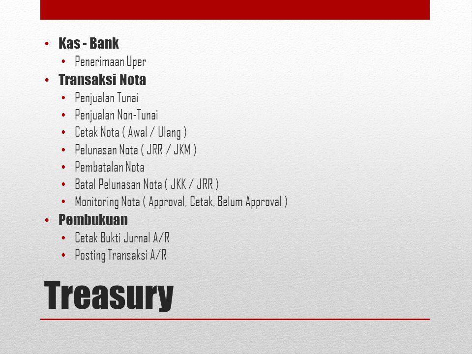 Treasury Kas - Bank Transaksi Nota Pembukuan Penerimaan Uper