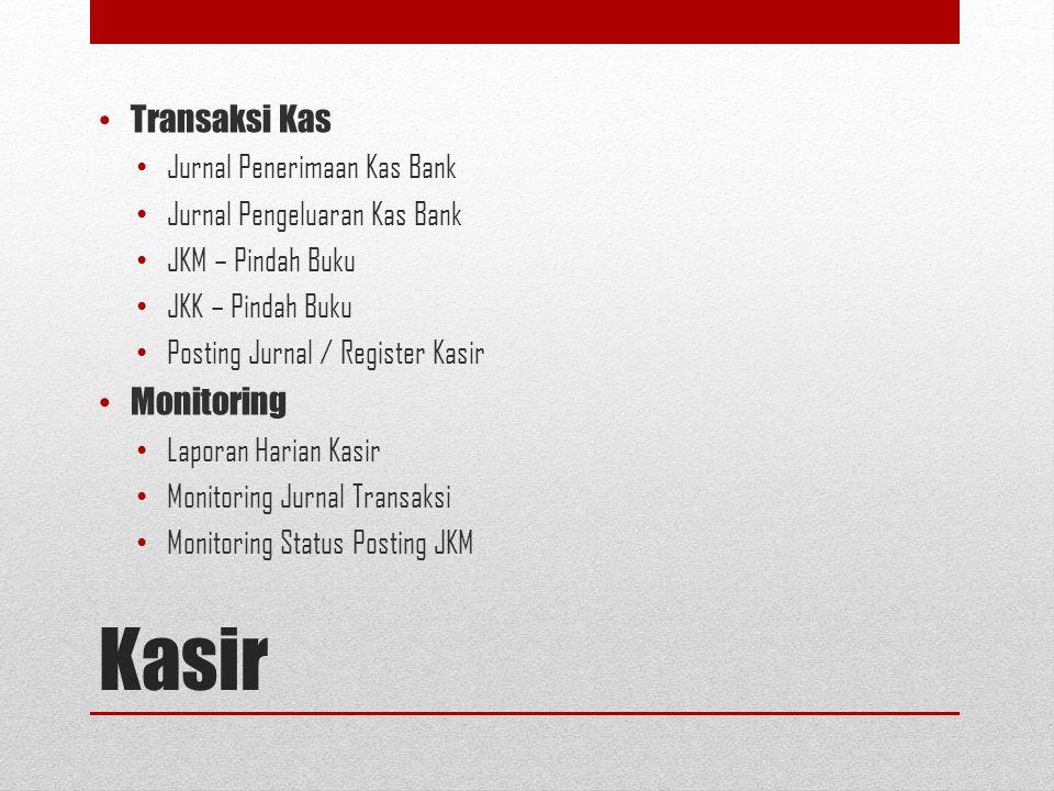 Kasir Transaksi Kas Monitoring Jurnal Penerimaan Kas Bank