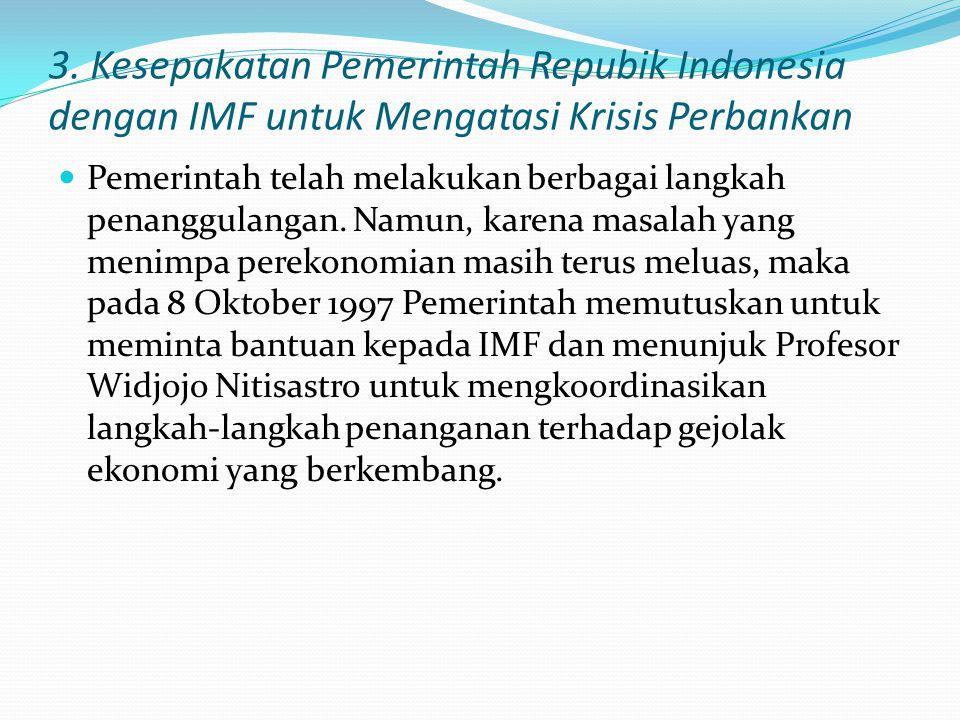 3. Kesepakatan Pemerintah Repubik Indonesia dengan IMF untuk Mengatasi Krisis Perbankan