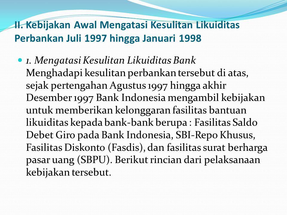 II. Kebijakan Awal Mengatasi Kesulitan Likuiditas Perbankan Juli 1997 hingga Januari 1998