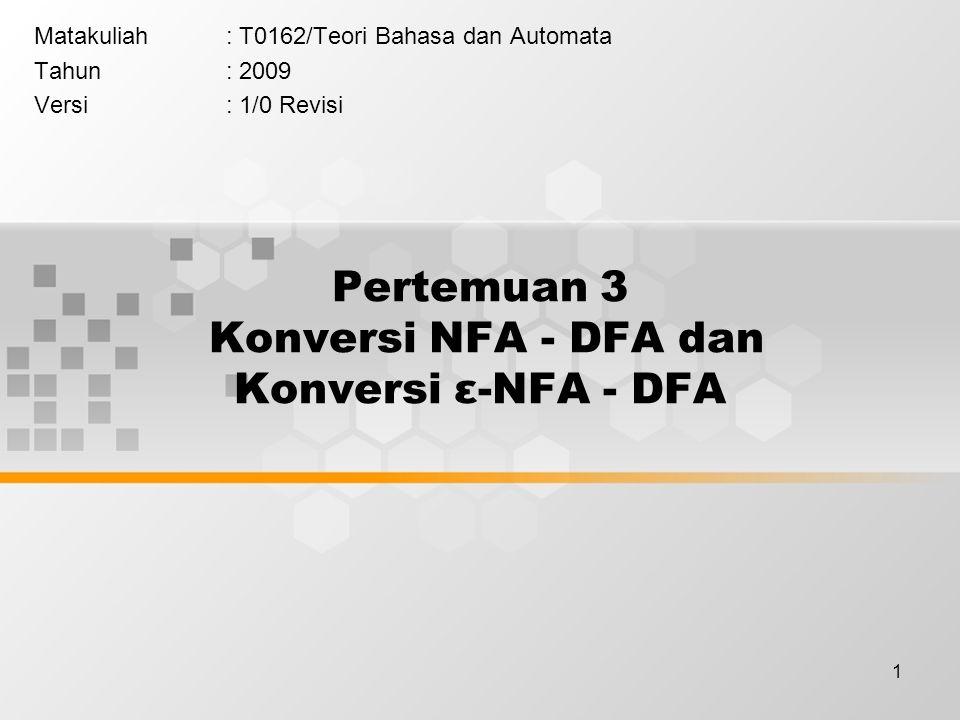 Pertemuan 3 Konversi NFA - DFA dan Konversi ε-NFA - DFA