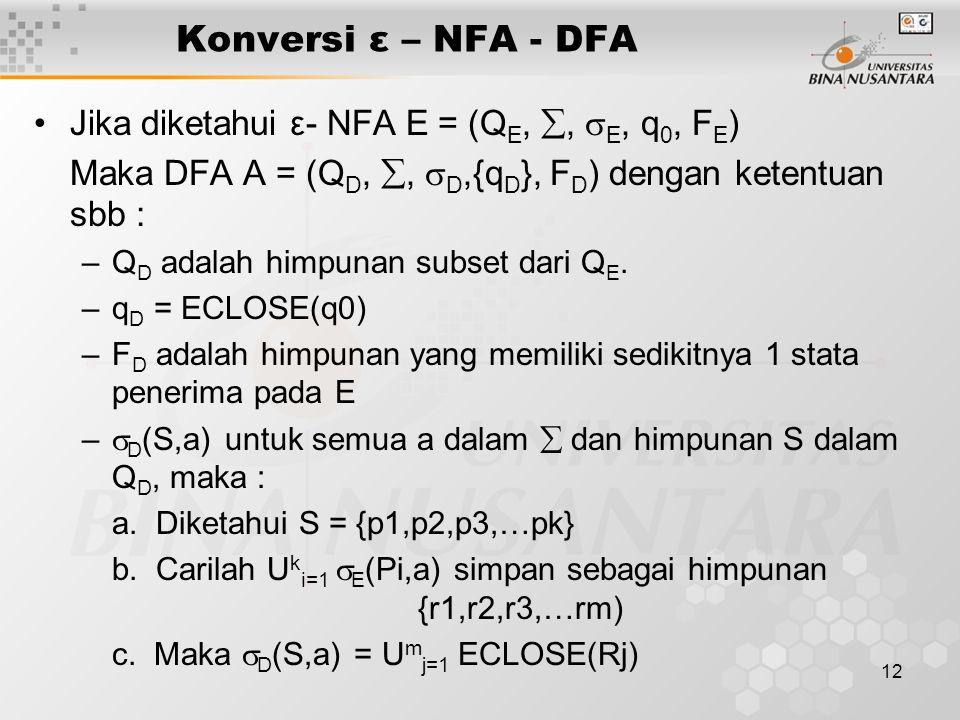 Konversi ε – NFA - DFA Jika diketahui ε- NFA E = (QE, , E, q0, FE)
