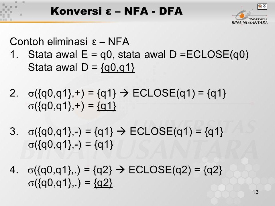 Konversi ε – NFA - DFA Contoh eliminasi ε – NFA. Stata awal E = q0, stata awal D =ECLOSE(q0) Stata awal D = {q0,q1}