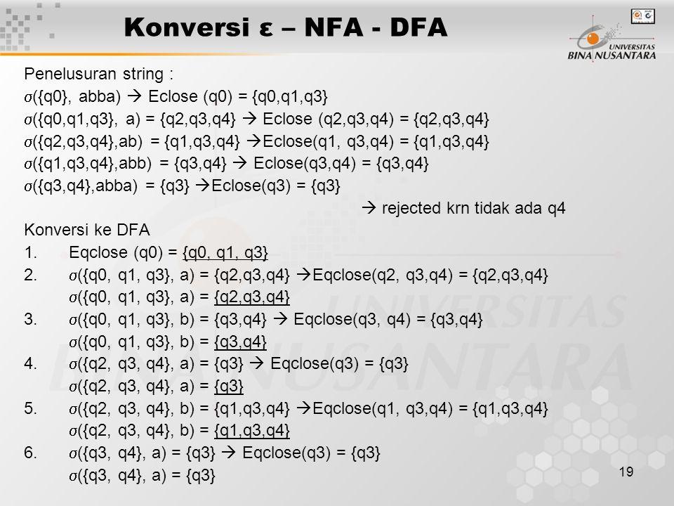 Konversi ε – NFA - DFA Penelusuran string :