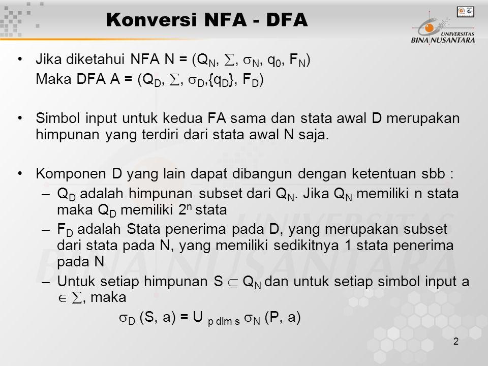 Konversi NFA - DFA Jika diketahui NFA N = (QN, , N, q0, FN)