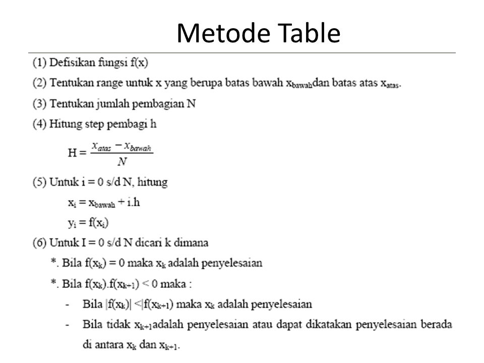Metode Table