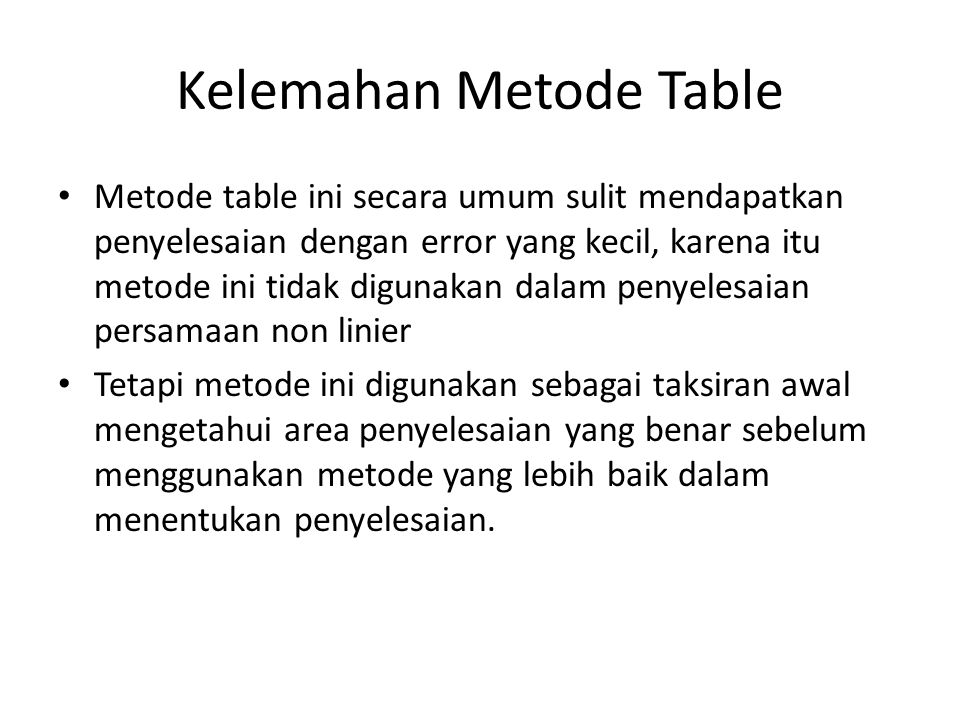 Kelemahan Metode Table