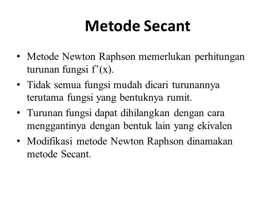 Metode Secant Metode Newton Raphson memerlukan perhitungan turunan fungsi f'(x).