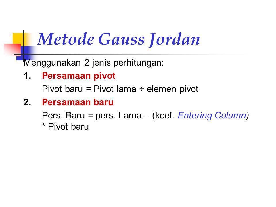 Metode Gauss Jordan Menggunakan 2 jenis perhitungan: Persamaan pivot