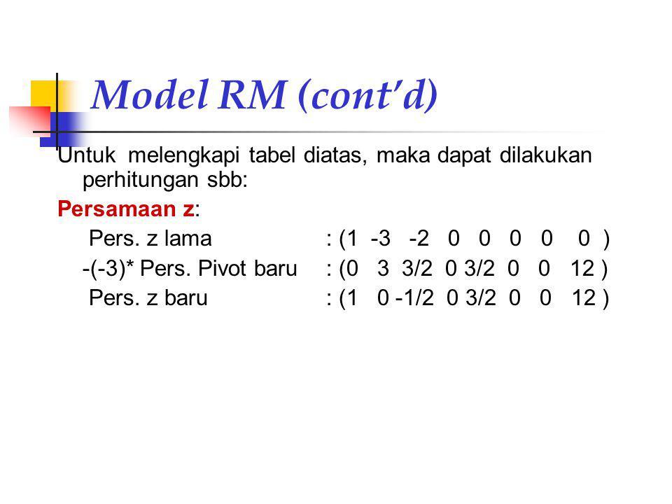 Model RM (cont'd) Untuk melengkapi tabel diatas, maka dapat dilakukan perhitungan sbb: Persamaan z: