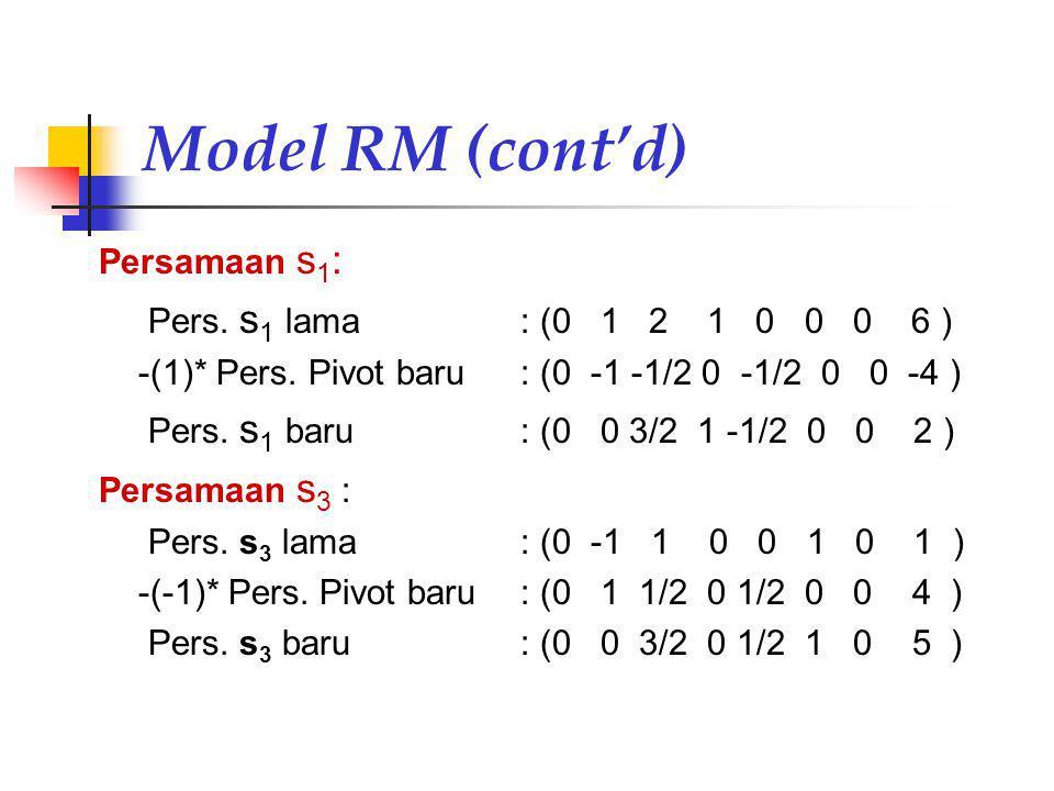 Model RM (cont'd) Persamaan s1: Pers. s1 lama : (0 1 2 1 0 0 0 6 )