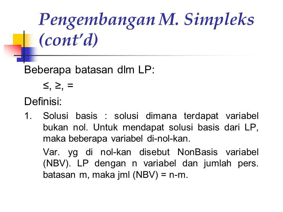 Pengembangan M. Simpleks (cont'd)