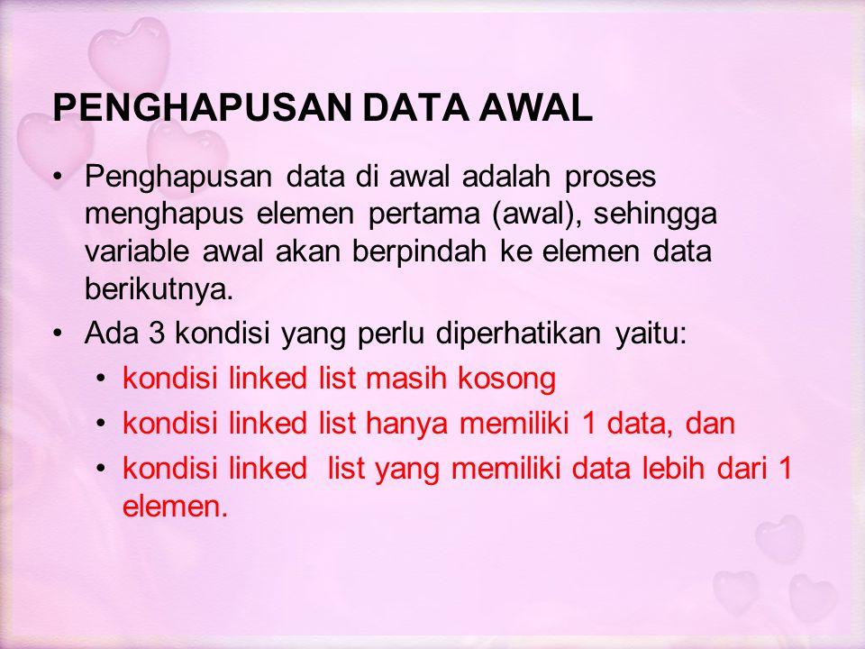 PENGHAPUSAN DATA AWAL