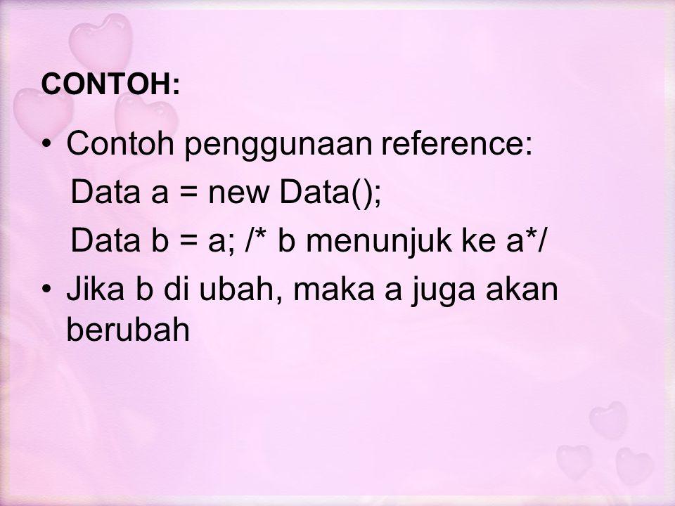 Contoh penggunaan reference: Data a = new Data();