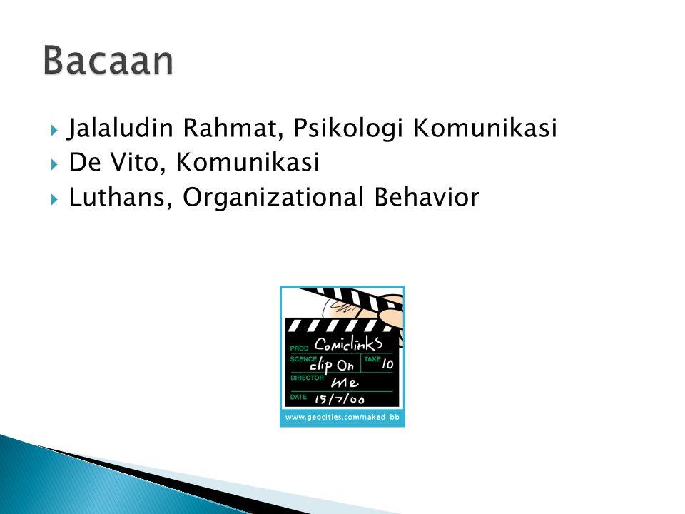 Bacaan Jalaludin Rahmat, Psikologi Komunikasi De Vito, Komunikasi