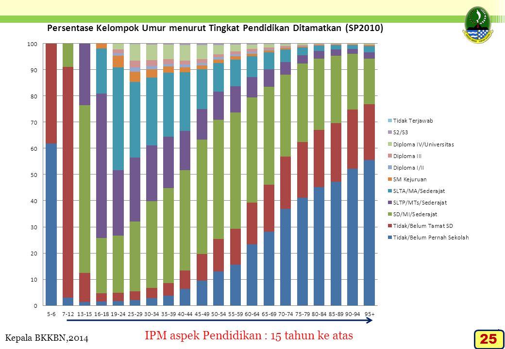 IPM aspek Pendidikan : 15 tahun ke atas