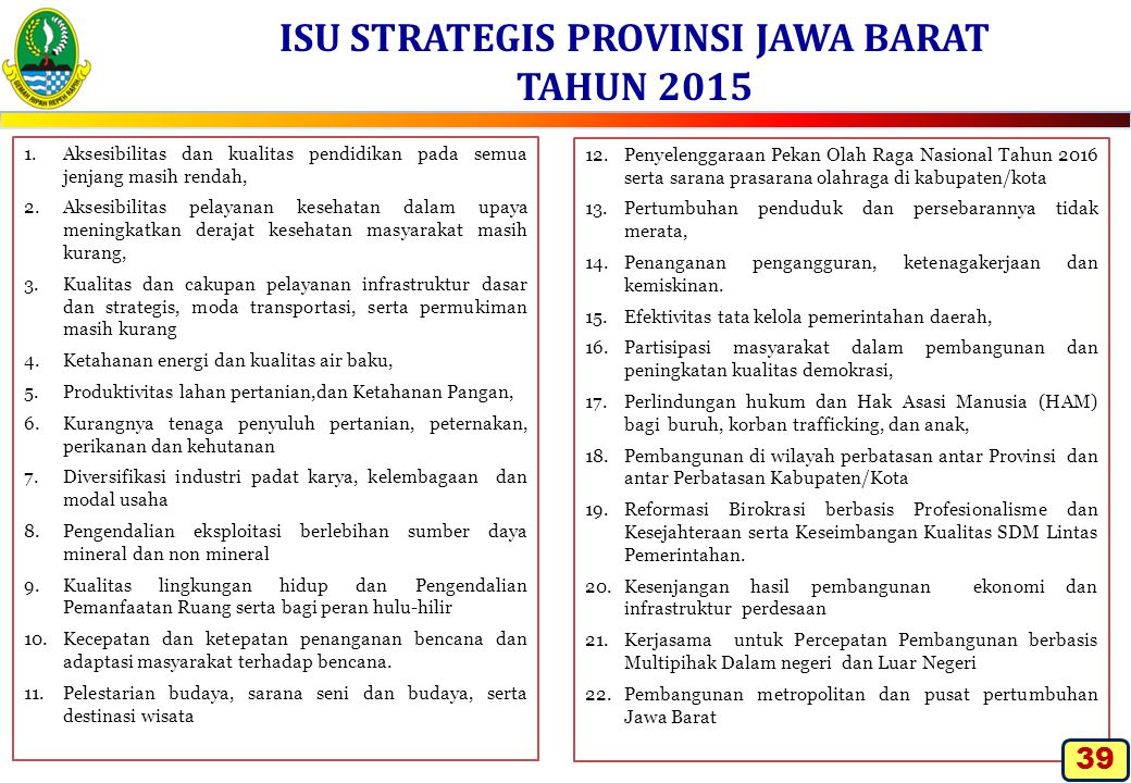 ISU STRATEGIS PROVINSI JAWA BARAT TAHUN 2015