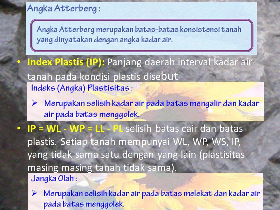 Index Plastis (IP): Panjang daerah interval kadar air tanah pada kondisi plastis disebut