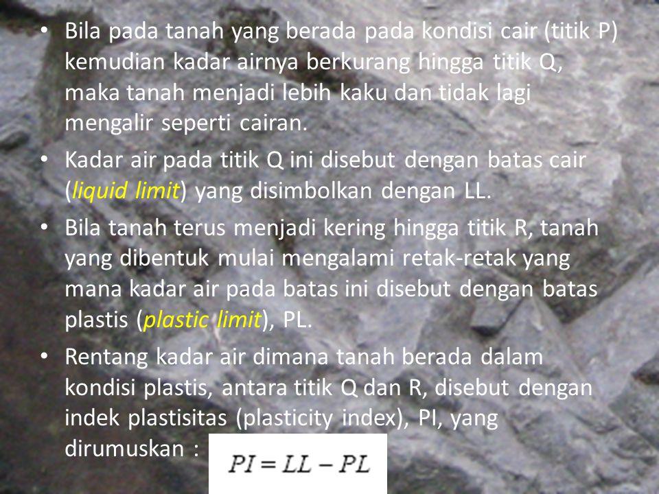 Bila pada tanah yang berada pada kondisi cair (titik P) kemudian kadar airnya berkurang hingga titik Q, maka tanah menjadi lebih kaku dan tidak lagi mengalir seperti cairan.