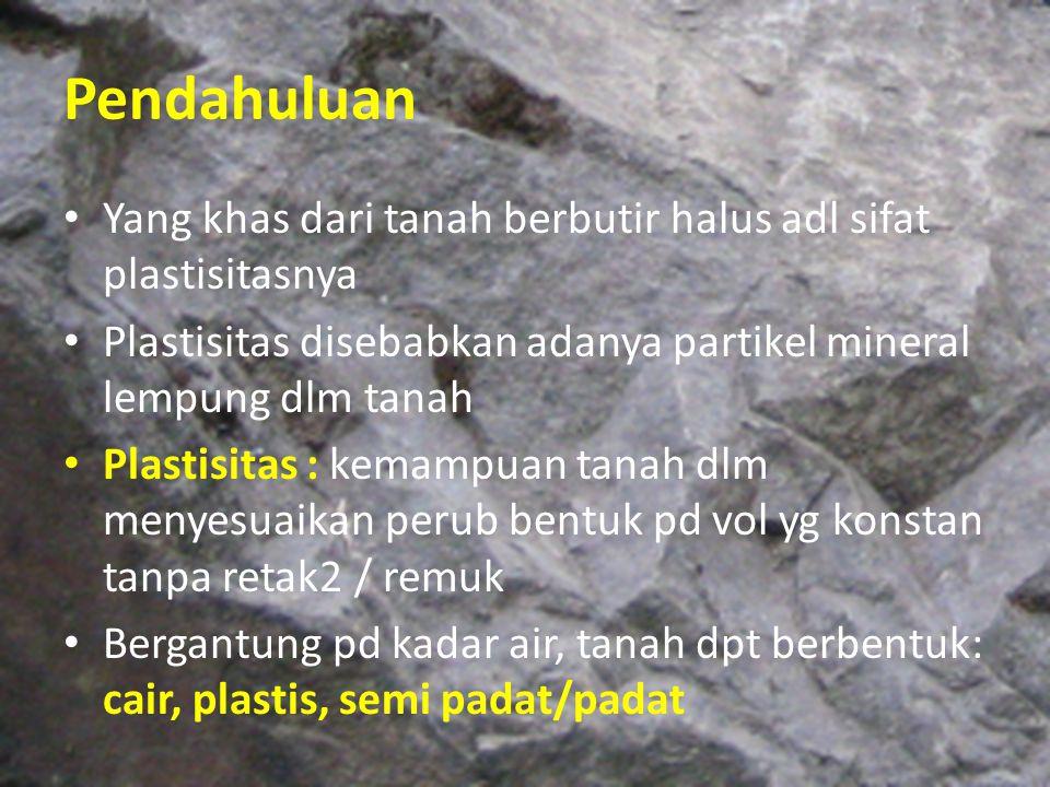 Pendahuluan Yang khas dari tanah berbutir halus adl sifat plastisitasnya. Plastisitas disebabkan adanya partikel mineral lempung dlm tanah.