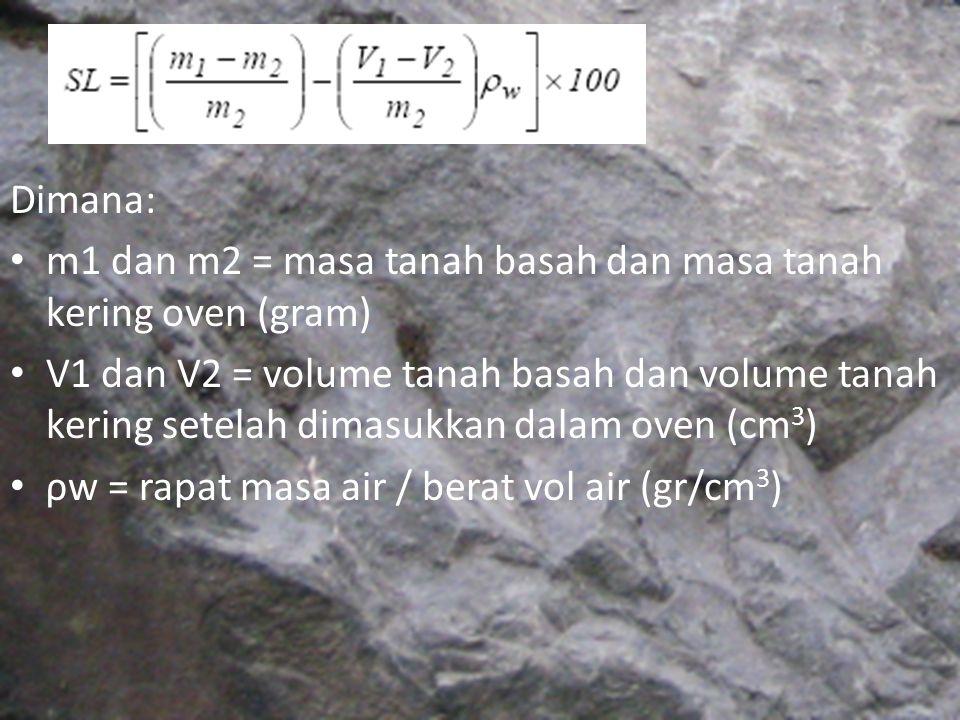 Dimana: m1 dan m2 = masa tanah basah dan masa tanah kering oven (gram)