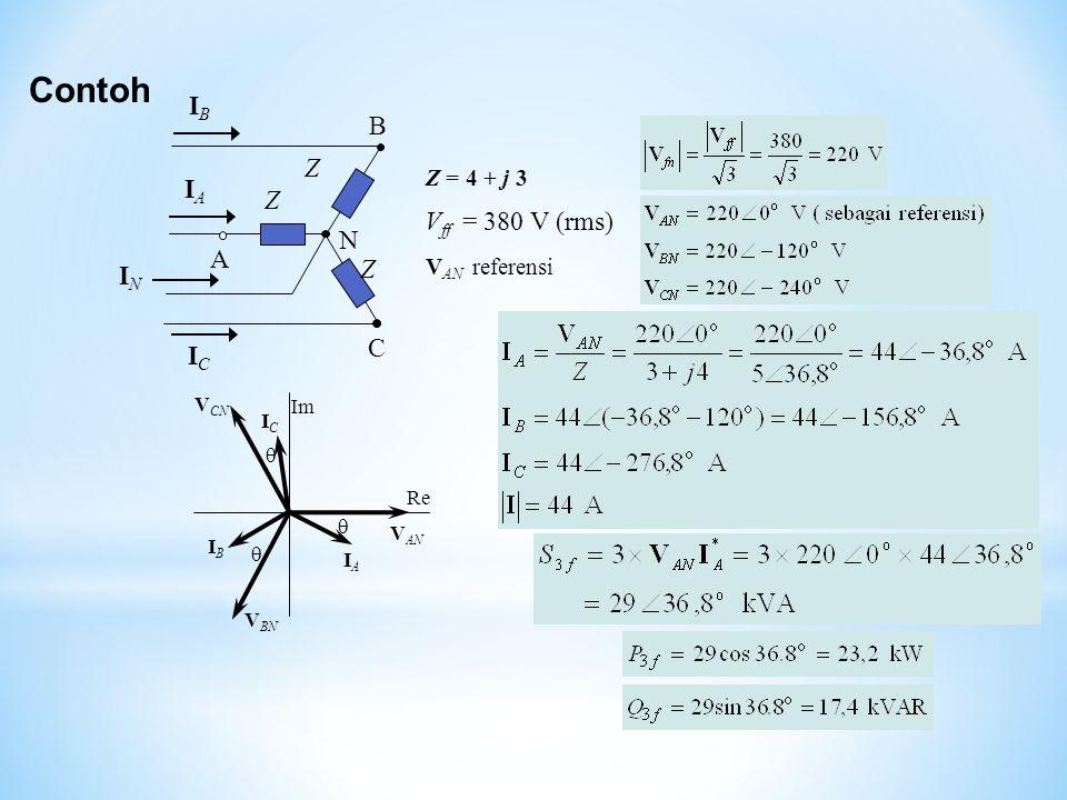 Contoh IB B Z IA Vff = 380 V (rms) N A IN C IC Z = 4 + j 3