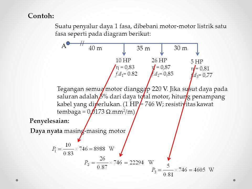 Contoh: Suatu penyalur daya 1 fasa, dibebani motor-motor listrik satu fasa seperti pada diagram berikut: