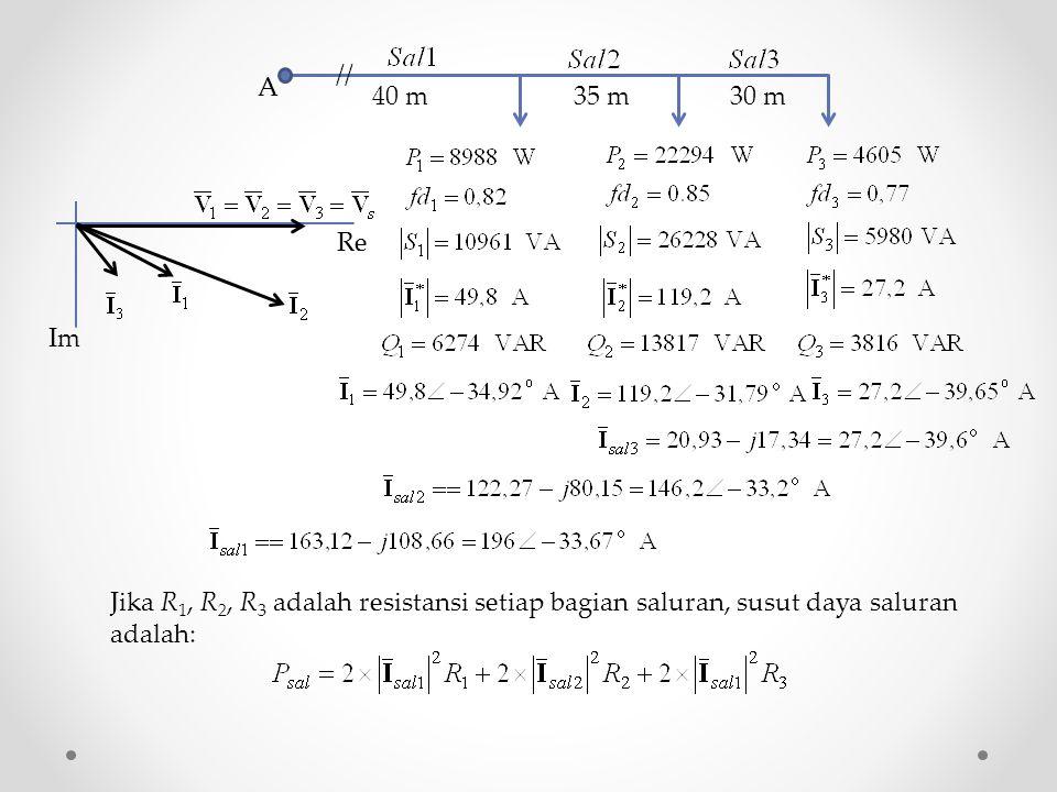 A // 40 m. 35 m. 30 m. Re. Im. Jika R1, R2, R3 adalah resistansi setiap bagian saluran, susut daya saluran.