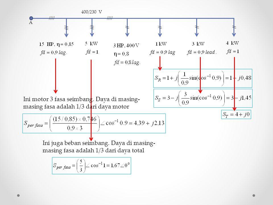 A //// /// // 400/230 V. Ini motor 3 fasa seimbang. Daya di masing-masing fasa adalah 1/3 dari daya motor.