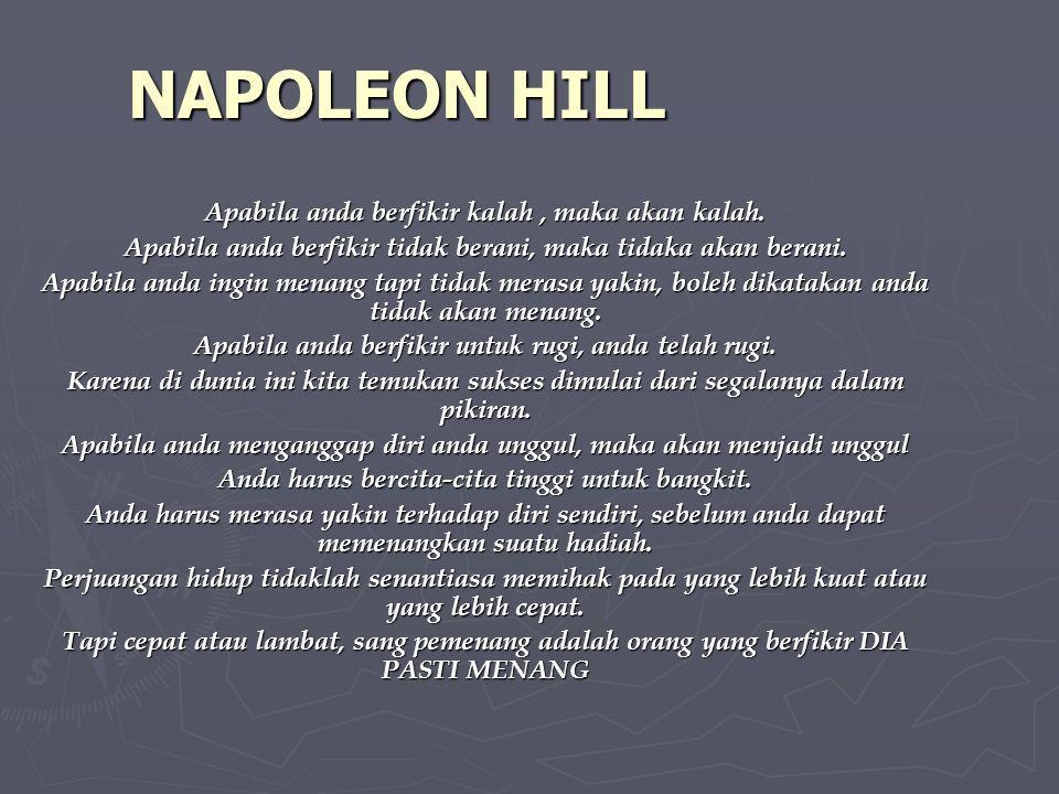 NAPOLEON HILL Apabila anda berfikir kalah , maka akan kalah.