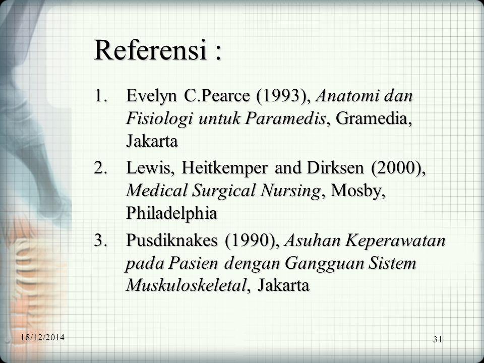 Referensi : Evelyn C.Pearce (1993), Anatomi dan Fisiologi untuk Paramedis, Gramedia, Jakarta.