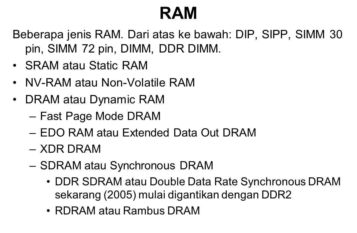 RAM Beberapa jenis RAM. Dari atas ke bawah: DIP, SIPP, SIMM 30 pin, SIMM 72 pin, DIMM, DDR DIMM. SRAM atau Static RAM.