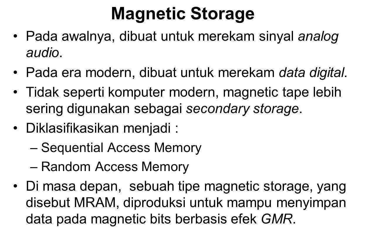 Magnetic Storage Pada awalnya, dibuat untuk merekam sinyal analog audio. Pada era modern, dibuat untuk merekam data digital.