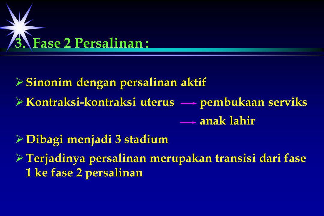 3. Fase 2 Persalinan : Sinonim dengan persalinan aktif