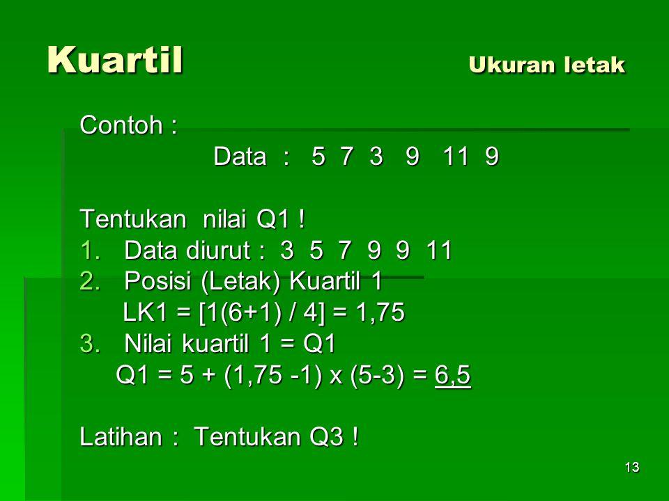 Kuartil Ukuran letak Contoh : Data : 5 7 3 9 11 9 Tentukan nilai Q1 !