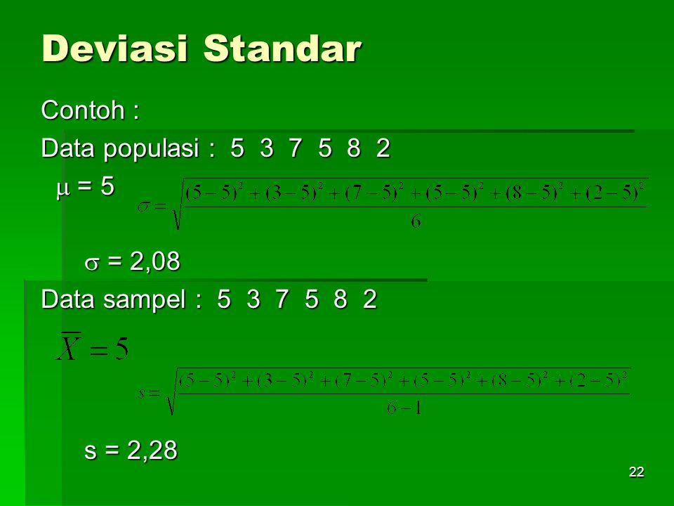 Deviasi Standar Contoh : Data populasi : 5 3 7 5 8 2  = 5  = 2,08