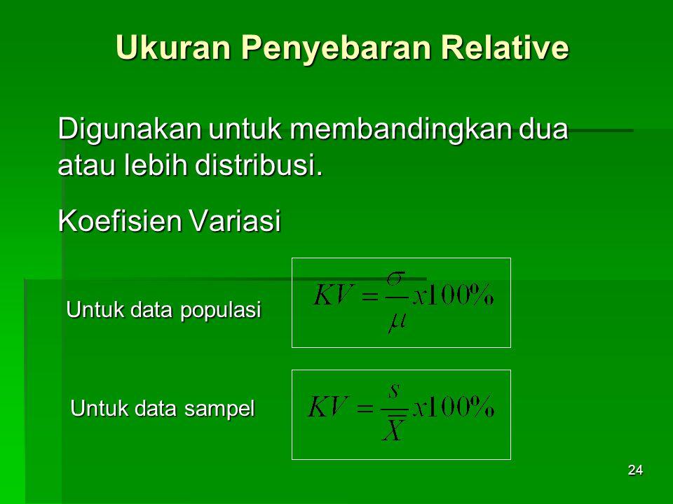 Ukuran Penyebaran Relative
