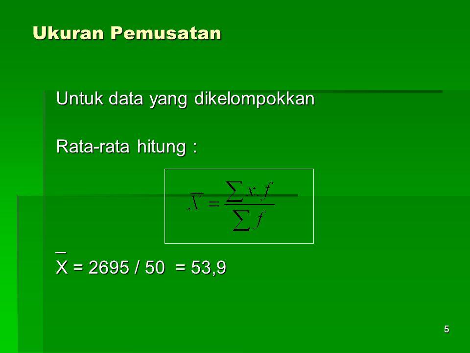 Ukuran Pemusatan Untuk data yang dikelompokkan Rata-rata hitung : _ X = 2695 / 50 = 53,9