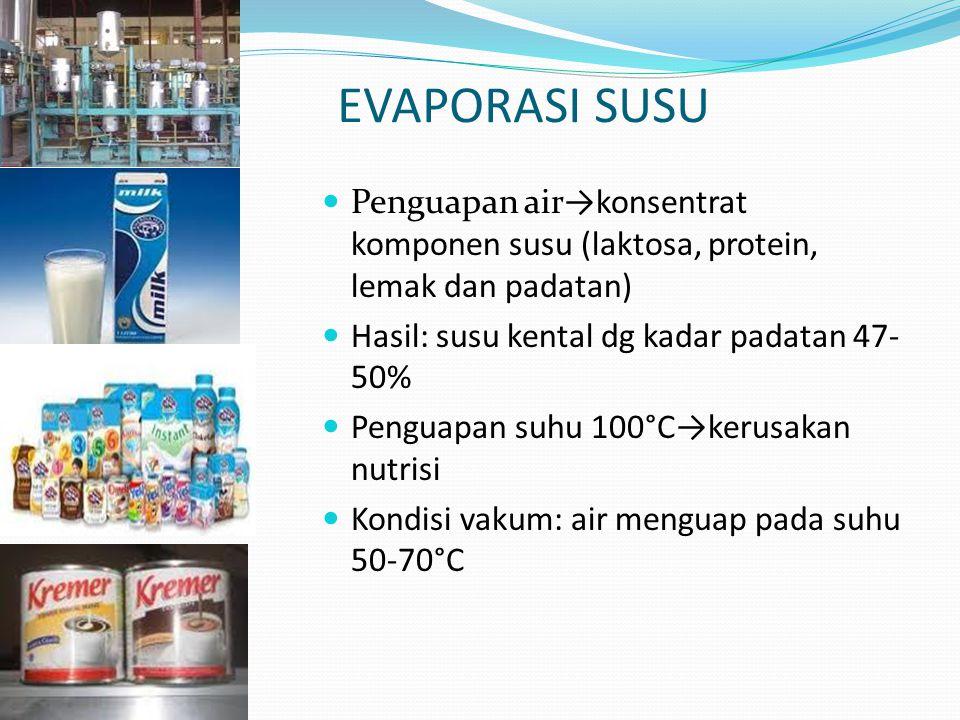 EVAPORASI SUSU Penguapan air→konsentrat komponen susu (laktosa, protein, lemak dan padatan) Hasil: susu kental dg kadar padatan 47-50%